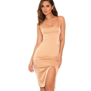 House of CB Nude Stretch Satin Thigh Split Dress